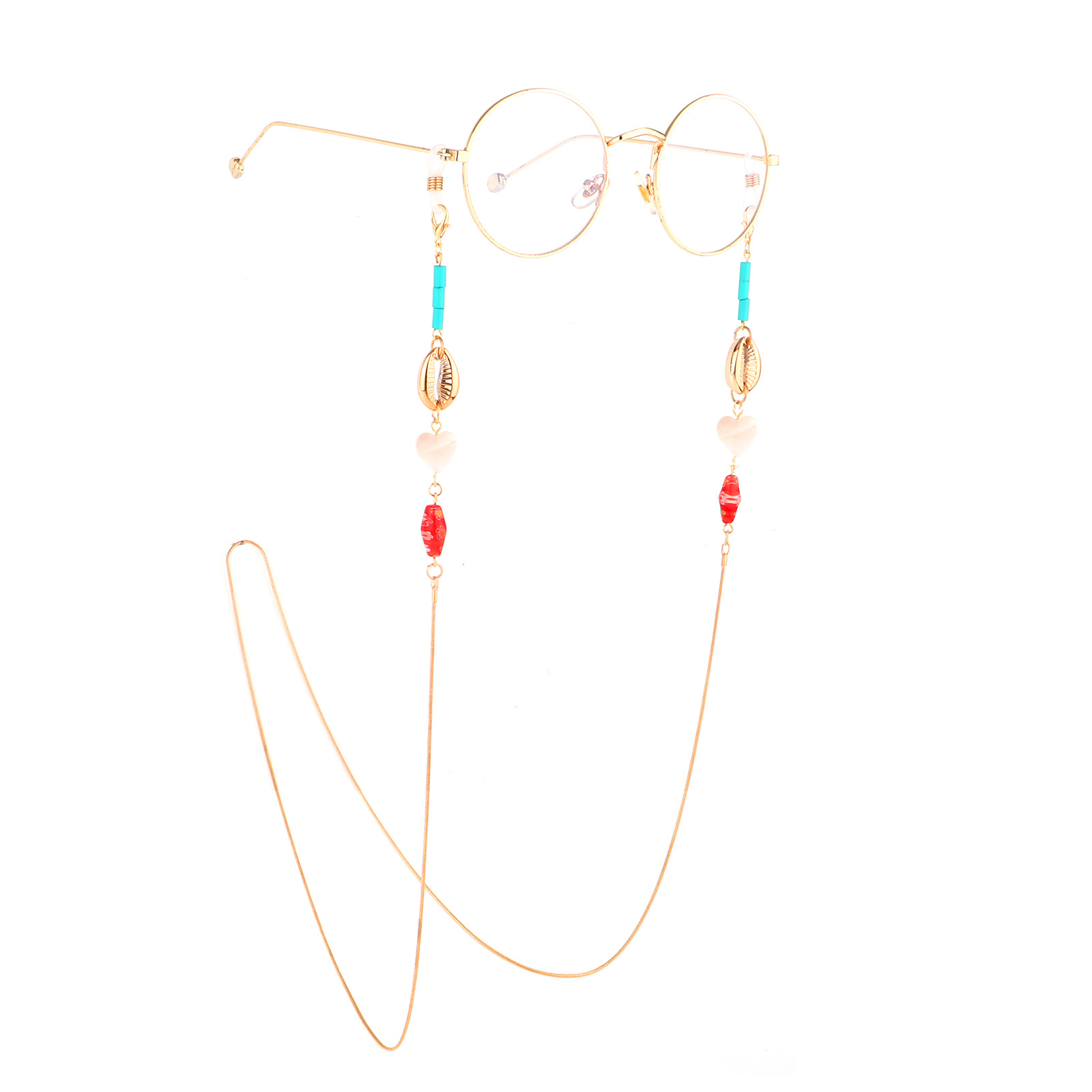 2019 Stone Bead Heart Glasses Chain Sunglasses Spectacles Vintage Copper Chain Holder Cord Lanyard Necklace Eyewear Accessories