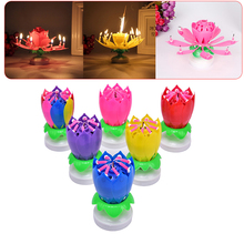 Cake Candle Lotus Flower Musical Candle Happy Birthday Art Candle Lights For DIY Cake Decoration Kids Gift Wedding Party 6pc lot golden candle for wedding cake decoration pencil cake candle birthday party decoration kids adult party supplies