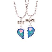 Humor bff coração pingente colar controle de temperatura mudança de cor melhor amigo coração colar feminino jóias menina presente dropshopping