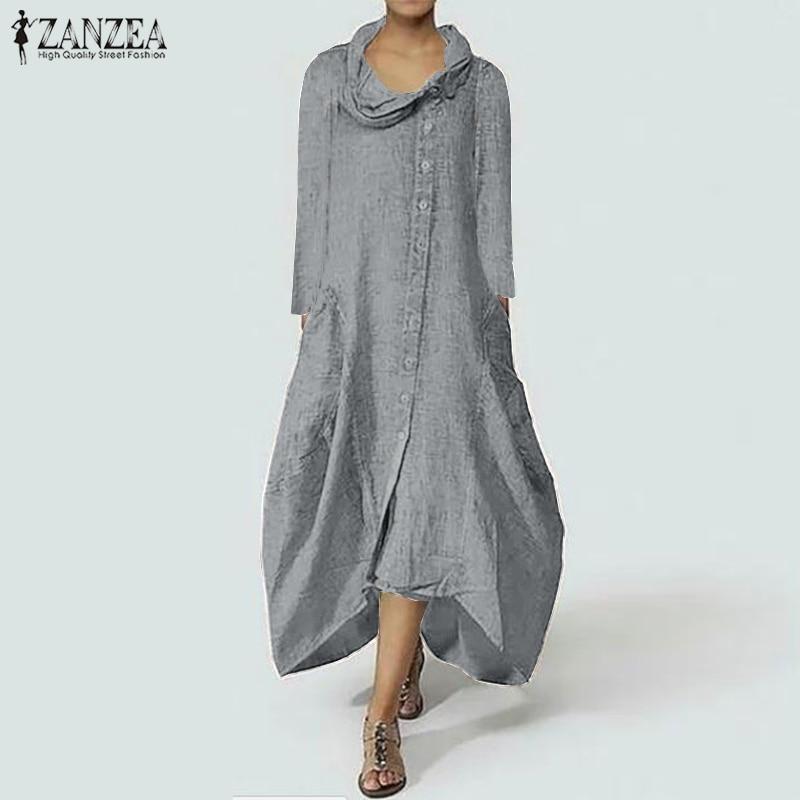 ZANZEA Women Women Sundress Turtleneck Long Maxi Dress Elegant Ladies Solid Robe Casual Vestidos Kaftan Asymmetrical Dresses