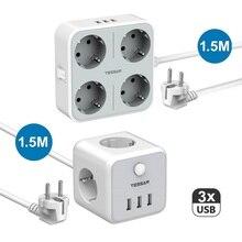 Power-Strip Charging-Station Multi-Outlet Eu-Plug Desktop Socket Usb-Ports Mountable