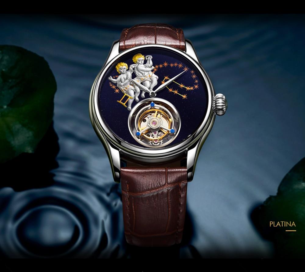 GUANQIN 2019 Real Tourbillon Mechanical Hand Wind Mens Watches Top Brand Luxury Gemini Clock men Gold Sapphire Relogio Masculino 19