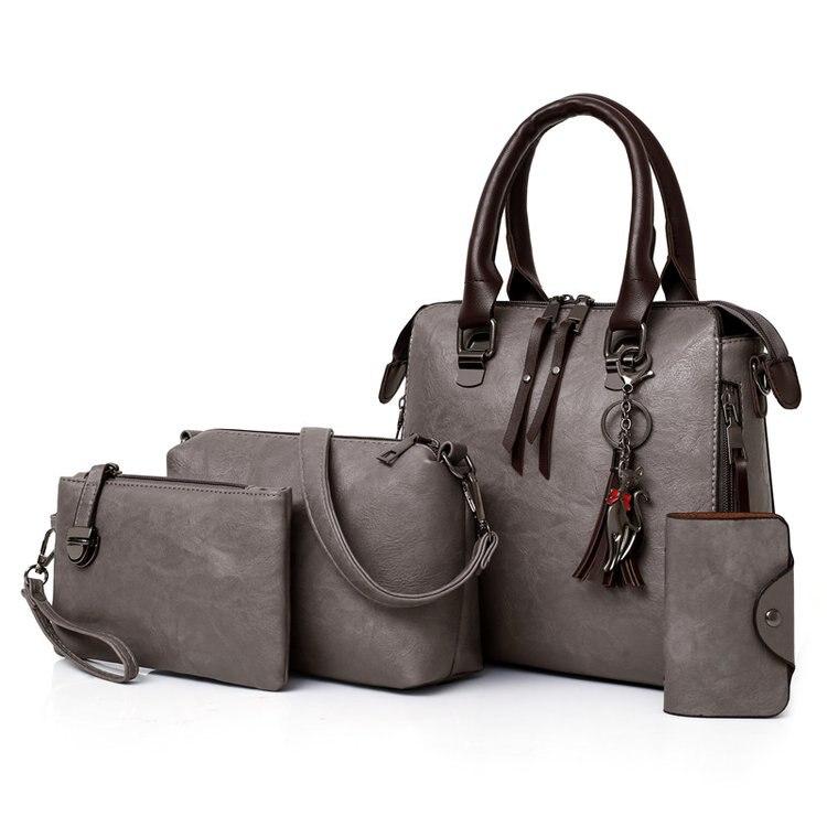 New Ladies Handbags Women Composite Bags Female PU Leather Shoulder Messenger Bags Tote 4pcs/Set Hand Bag  High Quality 1