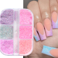 Розовый Сахарный Песок Nail Art Glitter Set Микро Втирание Светящийся Порошок Для Ногтей Пигмент Для Маникюра Сахарный Эффект Мерцающая Пыль LE1909-10