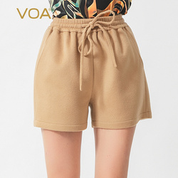 VOA Women Clothes Double-sided 780g Cashmere Tie Belt Fold Tight Waist Straight Tube Shorts SK1028