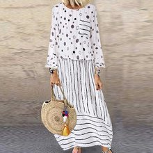 White Vintage Maxi Dress Women Elegant Party Robe Casual Long Sleeve Loose Long Dresses Plus Size Boho Dress Robe Femme Vestidos fashion long sleeve maxi dress women autumn robe casual plus size boho dresses female vintage bohemian beach floral long dress
