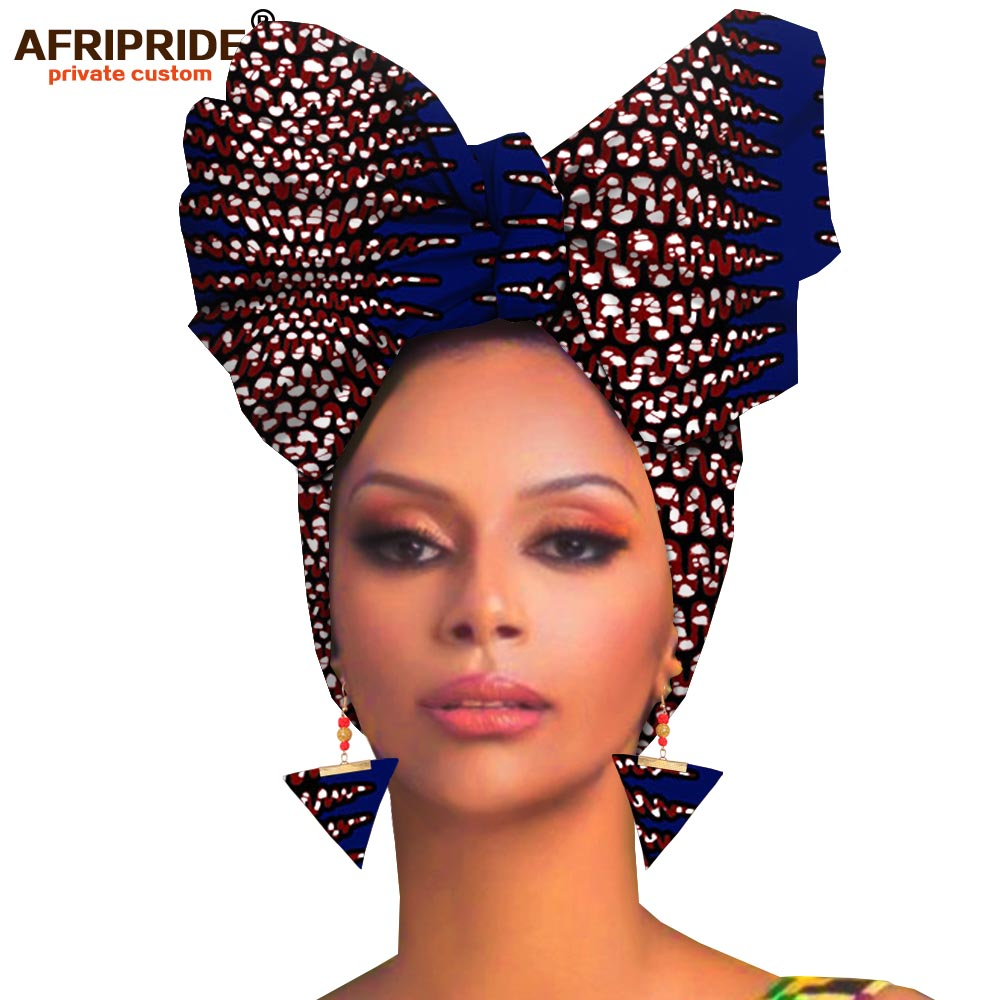 African Headwraps+earings 2 Piece Sets For Women African Head Scarf Ankara Traditional Headtie Scarf Turban AFRIPRIDE A19H007