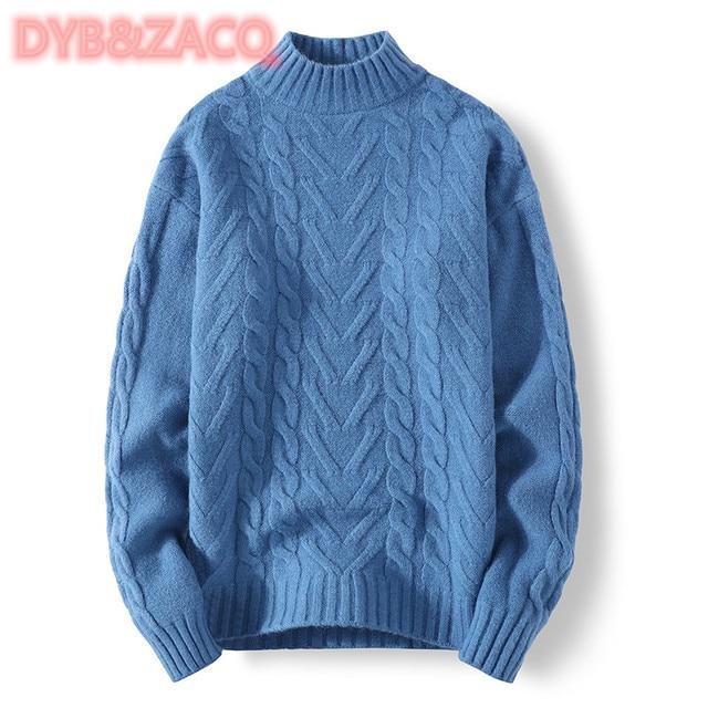 Мужской трикотажный свитер с круглым вырезом и длинным рукавом 2