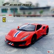 Bburago-modelo de coche de aleación de imitación para niños, juguete de colección de coches de aleación de imitación, Ferrari 488, escala 1:24