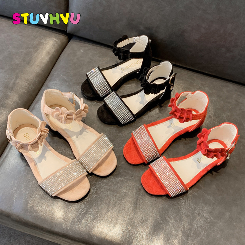 2020 Summer New Children's Shoes Girls Sandals Fashion Rhinestone Flower Girls Princess Shoes Non-slip Kids Sandals Roman Shoes