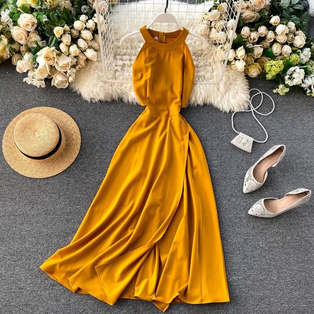 Fitaylor Summer Spring Elegant Knitted Halter Solid Sleeveless Vivid Color Women Female A-line High Waist Long Dress 3