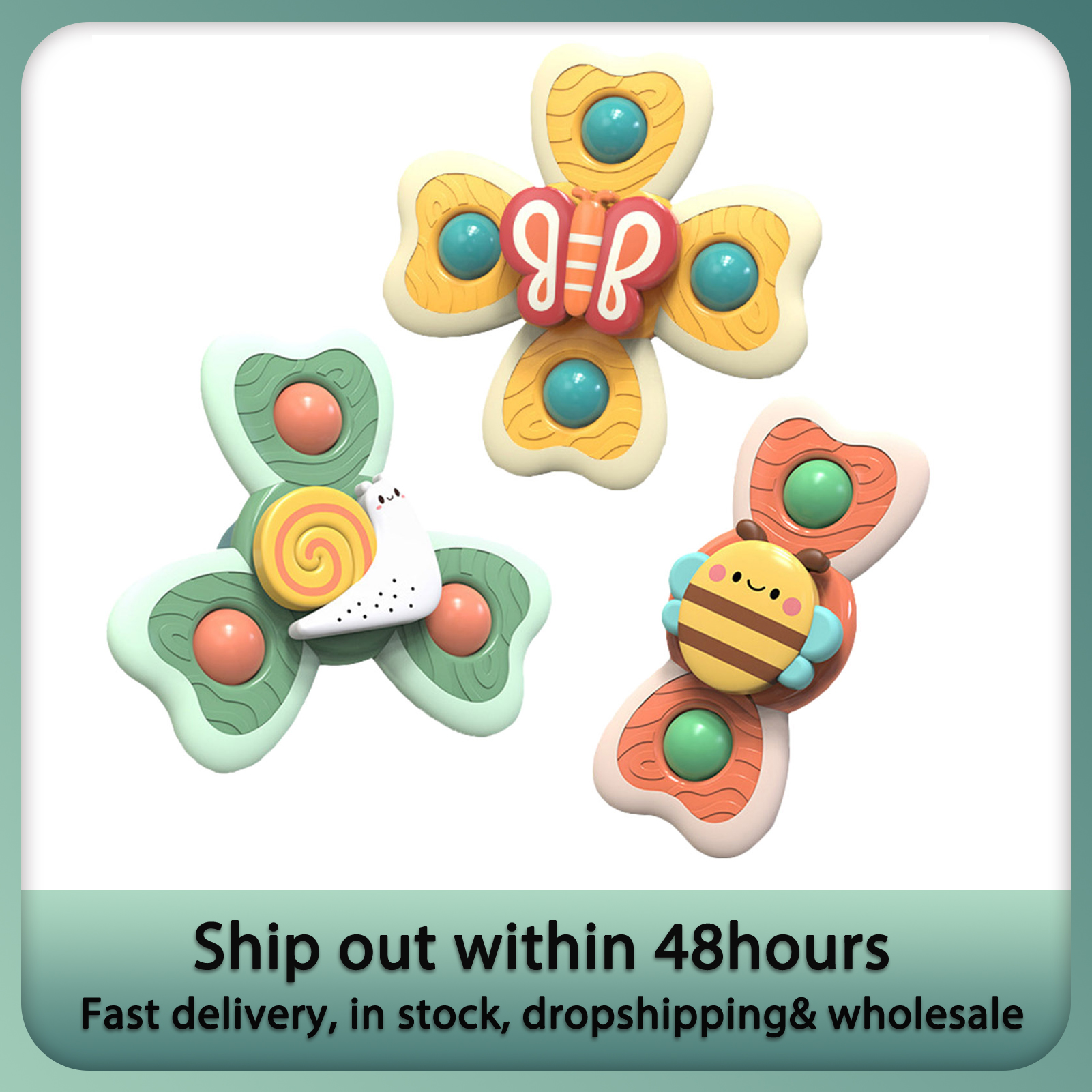 Spinning-Toy Windmill Suction-Cups Stress Baby Decompresssion with Toys 3pcs/Set Bath
