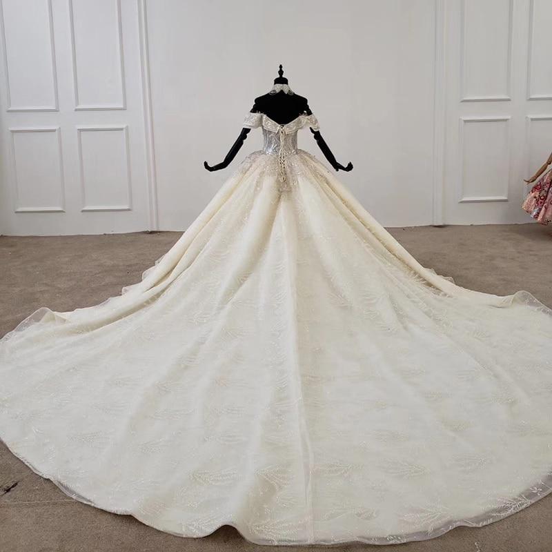 Image 2 - HTL1208 свадебное платье принцессы с открытыми плечами, коротким рукавом, аппликацией и кристаллами, на шнуровке сзади, белое свадебное платье, новинка, robe de marieeСвадебные платья    АлиЭкспресс