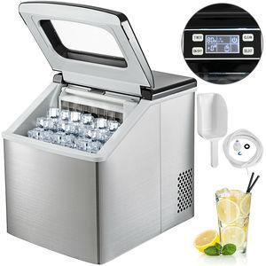 Льдогенератор из нержавеющей стали 220В машина для приготовления кубиков льда 40LBS столешница компактные Прозрачные Кубики льда для кухни до...