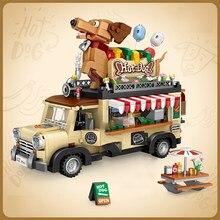 Tcnica Loz mini blocos de construo carro carro carro carrinho de cachorro quente veculo assemable crianas brinquedos educativos