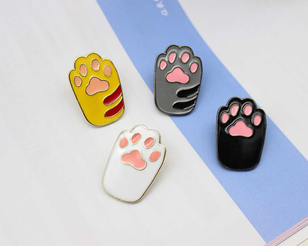 Cute Pink Yellow White Black Cat Claw Brooch Toe Bean Team Animal Claws Lovely Brooches  Jewelry Pins Accessories For Women Girl