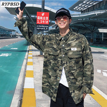 New 2019 Casual Camouflage Jackets Men Hip Hop Turn-down Collar Long Sleeve Fashion Tactical Military Jacket Coat