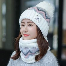 Winter Hat Scarf-Set Beanies Knitted Girls Thick Cotton Women Gift And Female