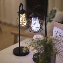41cm Retro lámpara de mesa de hierro minimalista batería AA USB hueco diamante Lámpara de lectura Vintage lámpara de noche para iluminación de cabecera de dormitorio