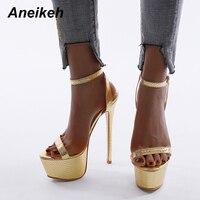 Aneikeh nouveau 2020 été sandales mode femmes plate-forme bande étroite boucle Peep orteil talons hauts sandales dame discothèque chaussures de fête