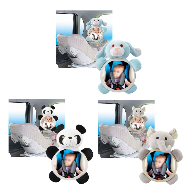 New Baby Doll Toys Safety Seat Rear Facing View Mirror Cute Kids Children Observation Shatterproof Plush Animal Mirror Toys