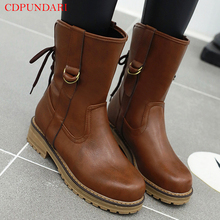 Round Toe Motorcycle boots Low heel ankle bootss for women platform Short boots Ladies autumn tactical boots shoes цена 2017