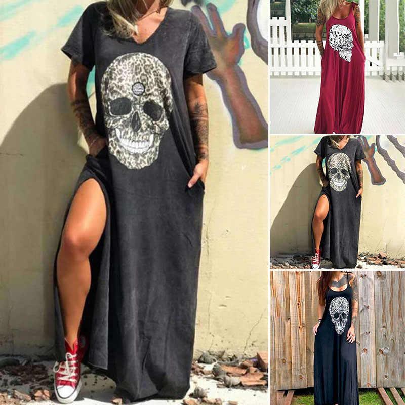 صيف 2020 نساء موضة الجمجمة طباعة فستان حجم كبير حمالة شاطئ فستان طويل فساتين نسائية 2020