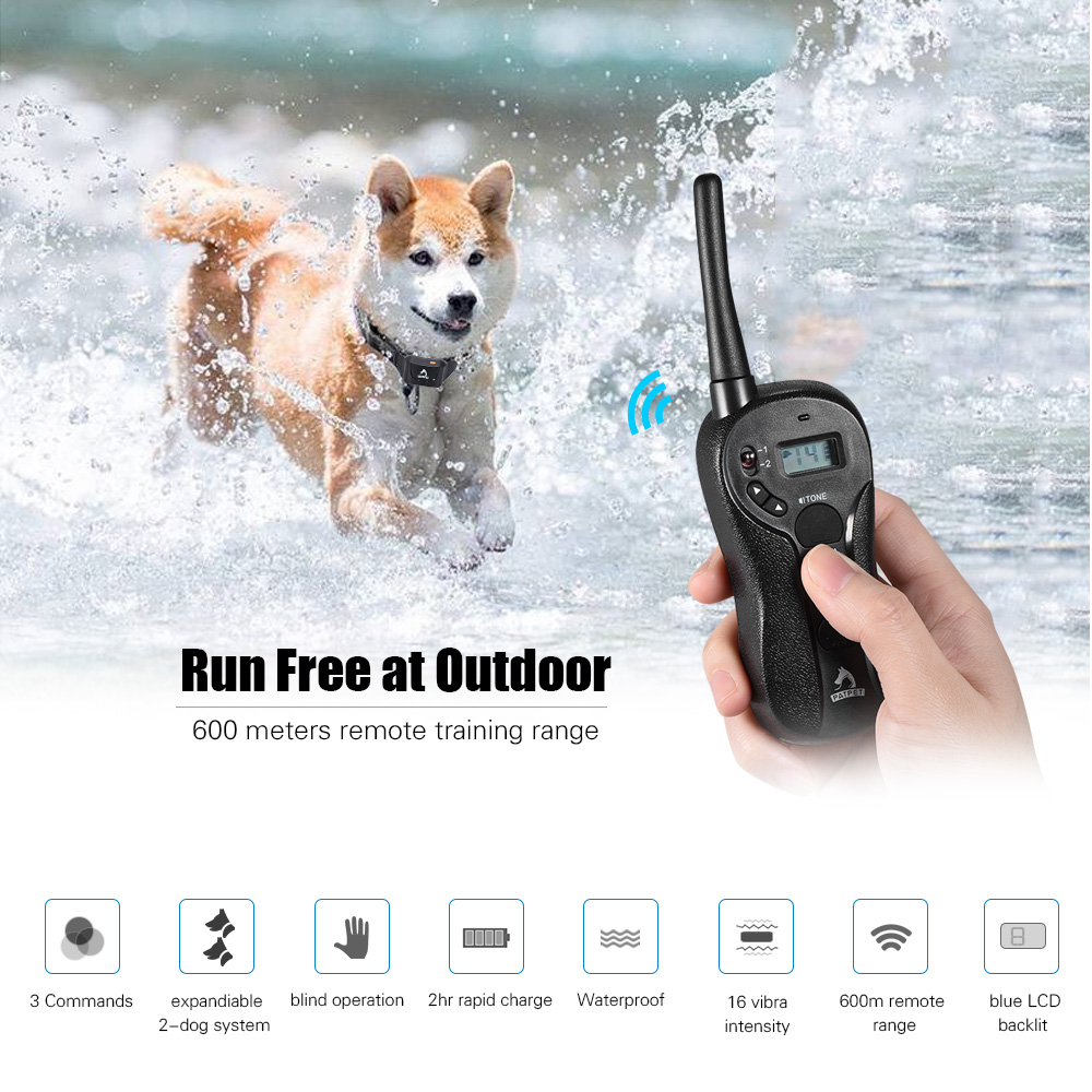Водонепроницаемый перезаряжаемый ошейник для дрессировки собак Звуковой сигнал/вибра/светильник 656yd 600 м дистанционный ошейник для дрессировки собак - 2