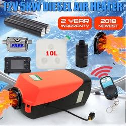 12V 5000W LCD Monitor de aire diesel calentador de combustible de un solo agujero 5KW para barcos Bus coche calentador con Control remoto y silenciador gratis