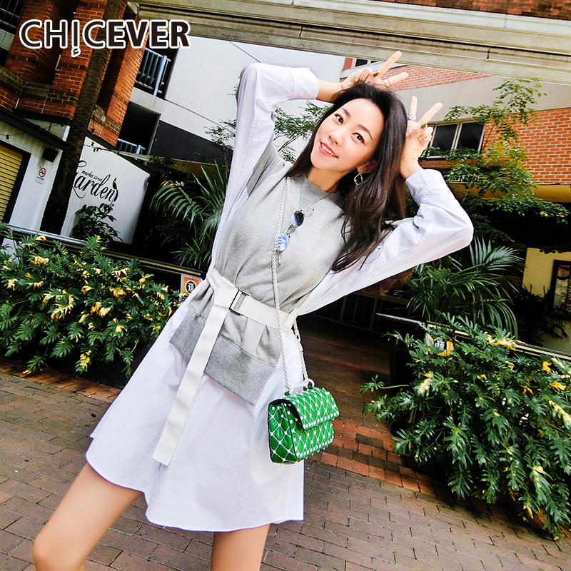 CHICEVER Patchwork Hit Color Women's Dress O Neck Lantern Sleeve High Waist Sashes Pullover Striped Dresses Female 2019 New
