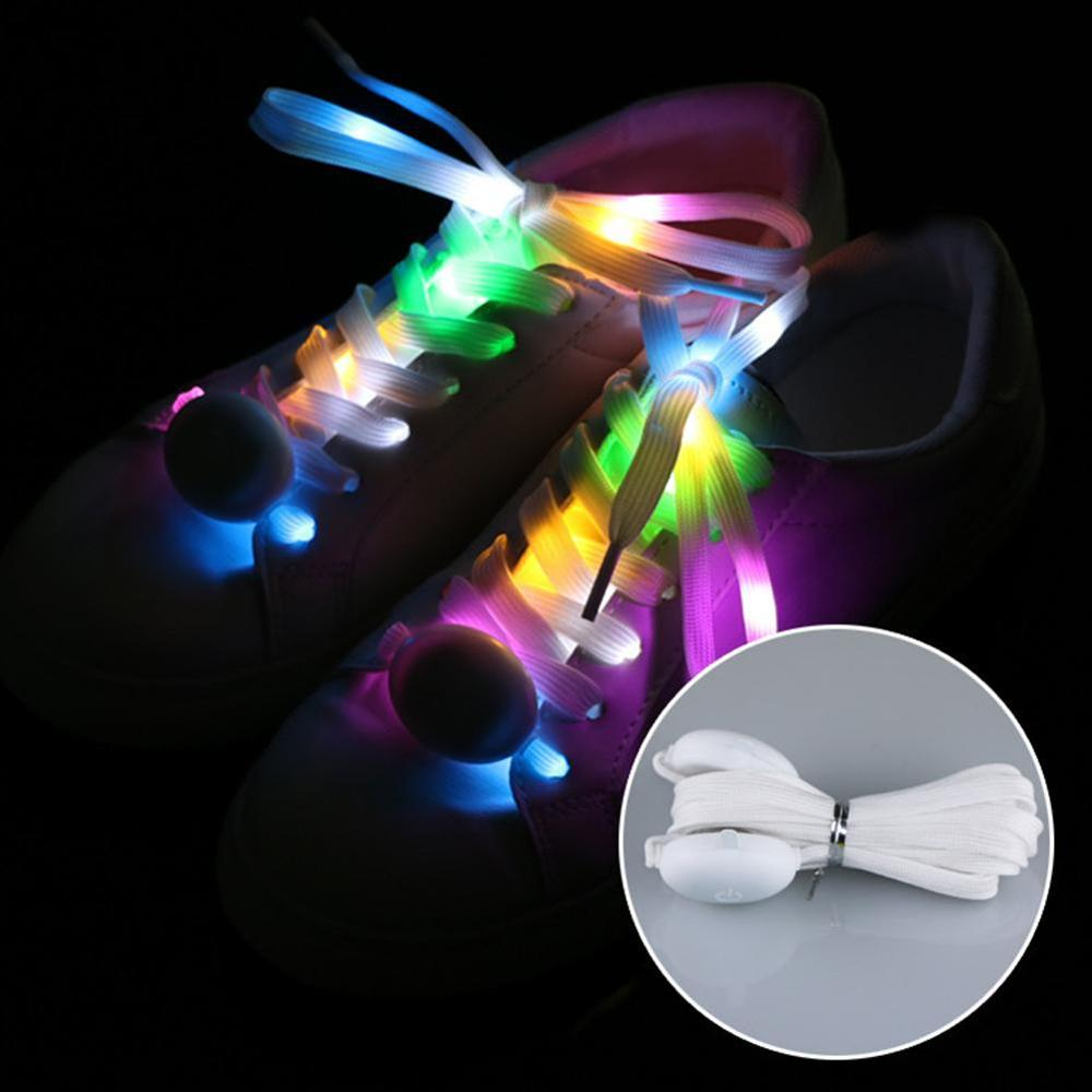 1 Pair Colorful LED Shoelaces High Visibility Soft Nylon Light Up Shoelace With 3 Modes For Night Running Party Shoe Decoration