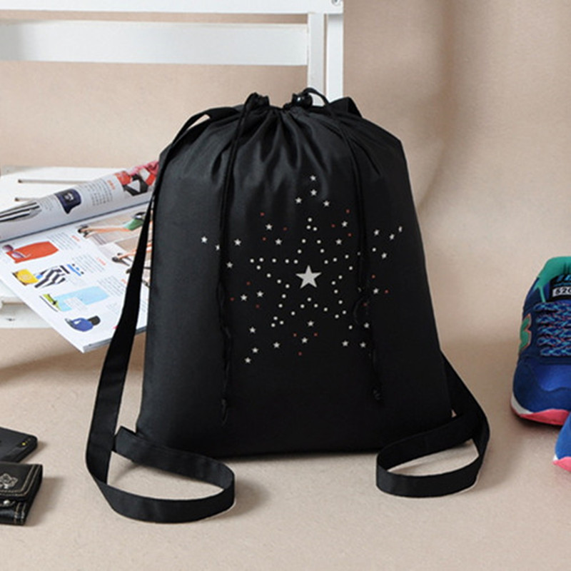 High Quality Drawstring Sports Shoe Dance Bag Schoolbag Black Printed Teenagers Backpack Drawstring Bag