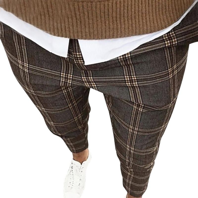 Puimentiua Quality Men's Slim Plaid Casual Pants Fashion Boutique Woolen Puit Men's Business Office Trousers Social Male Pants