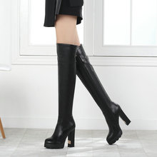 Black White Platform Square High Heel Women Over the Knee Boots Fashion Zipper Buckle Women Long Boots Winter Ladies Shoes women s pu leather over the knee boots thick heel thigh boots platform zipper round toe winter fashion ladies shoes black white