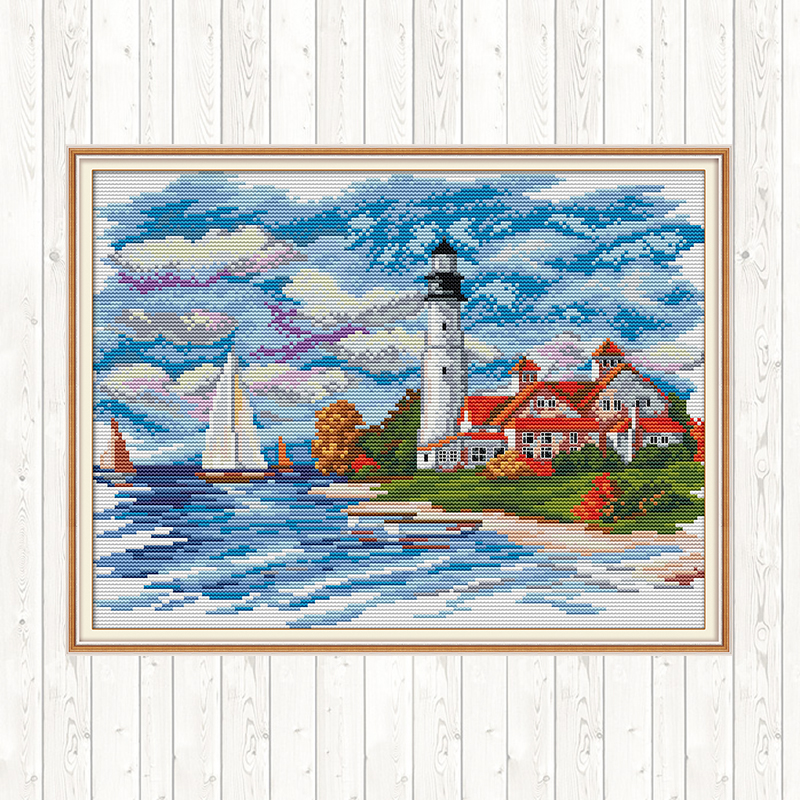 Cross-stitch Set Seaside Lighthouse Scenery Painting for Needlework Counted 14ct DMC DIY Print Canvas Fabric for Embroidery Kit