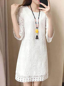 Dress Seven-Quarter-Sleeve Girl Summer Lace A-Line Sister