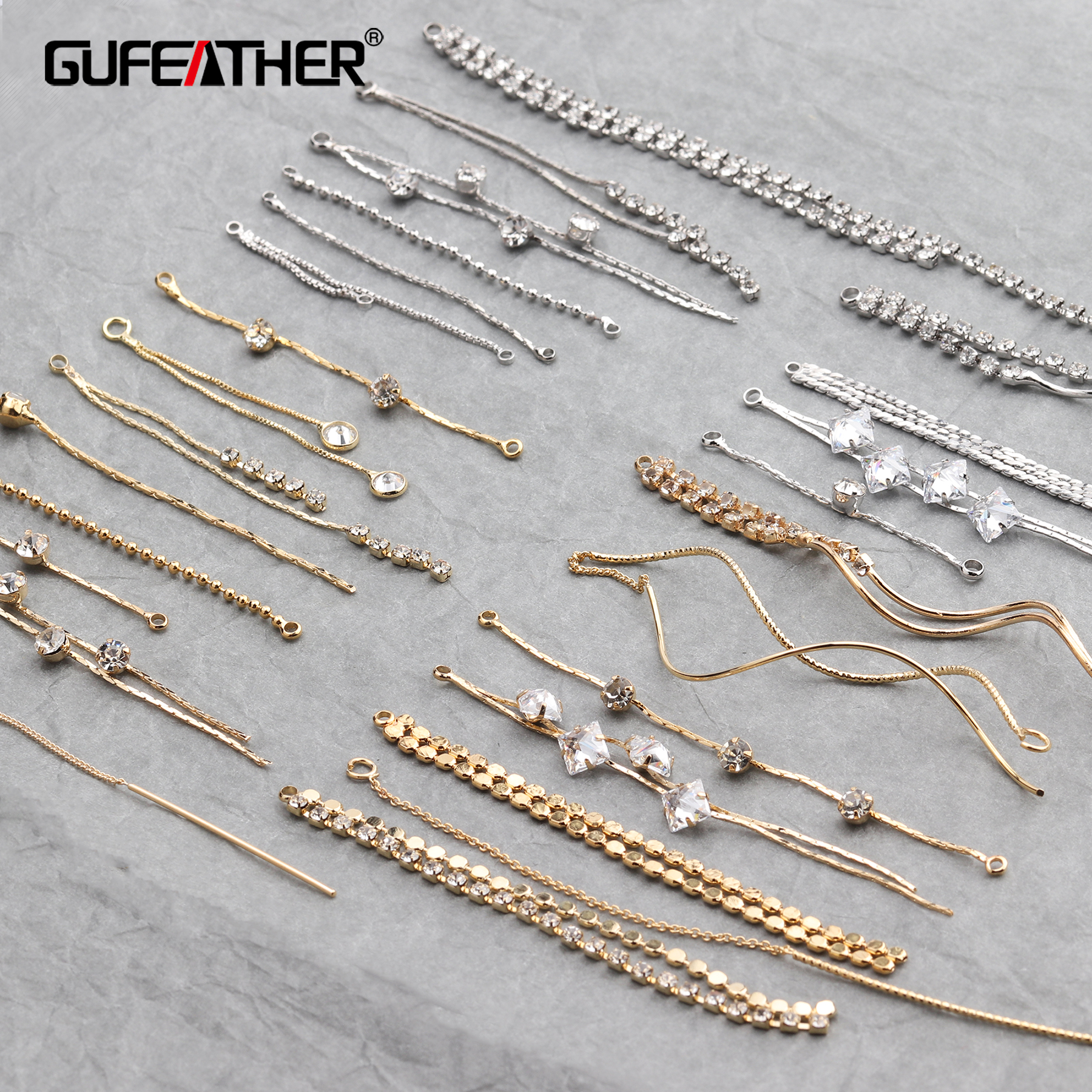 GUFEATHER M294,jewelry Making,jewelry Findings,diy Jewelry,18k Gold,copper Plated Gold,stable Quality,korean Chain,diy Earrings