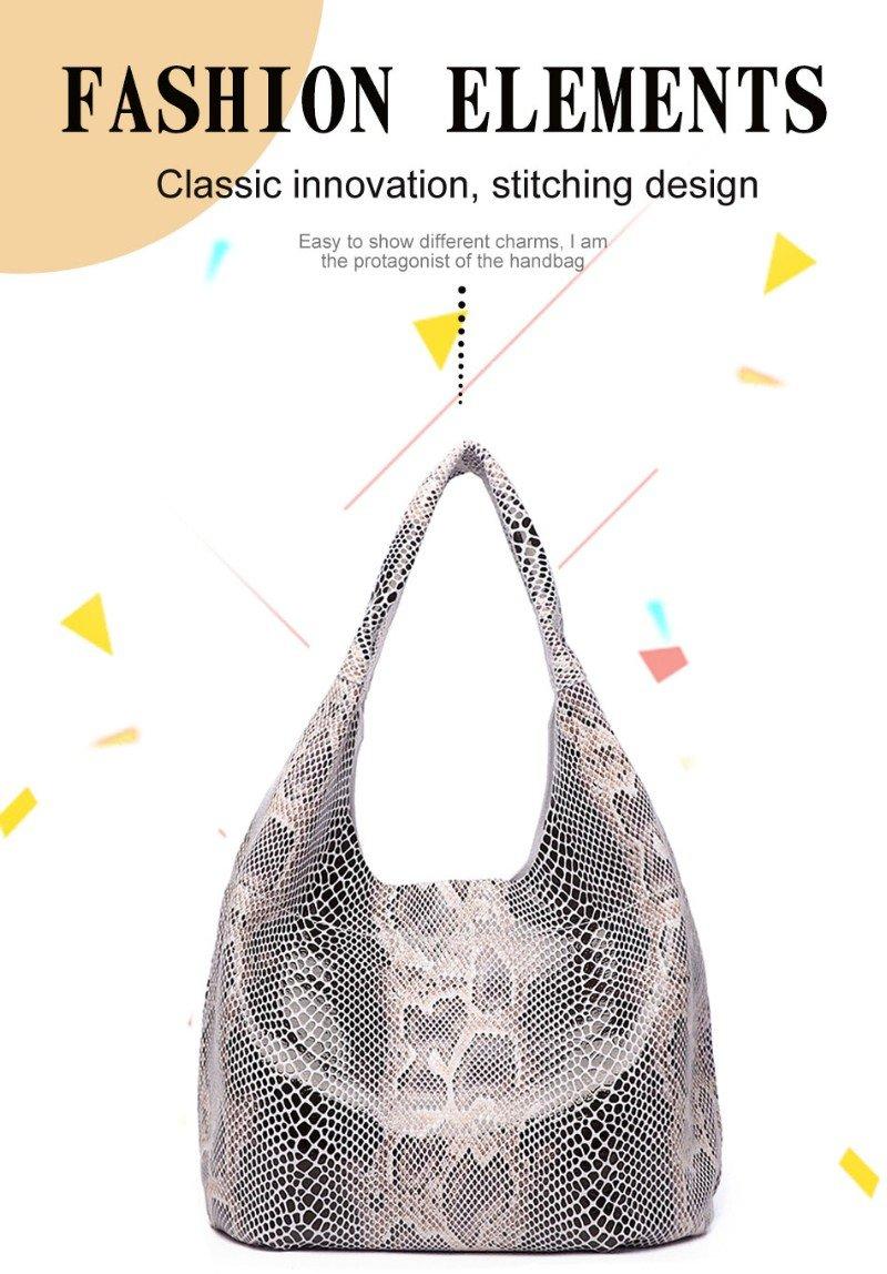 Женская кожаная сумка тоут с текстурой змеиной кожи