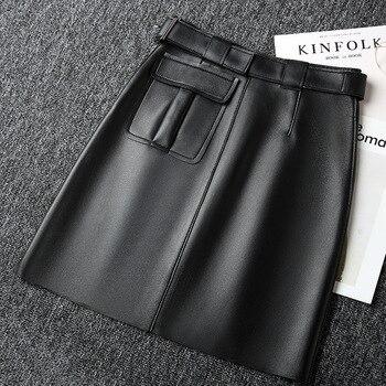 Falda de cuero auténtico de piel de oveja 2020 para mujer de cintura alta negra Línea A falda Vintage de oficina para mujer diseño de moda para mujer