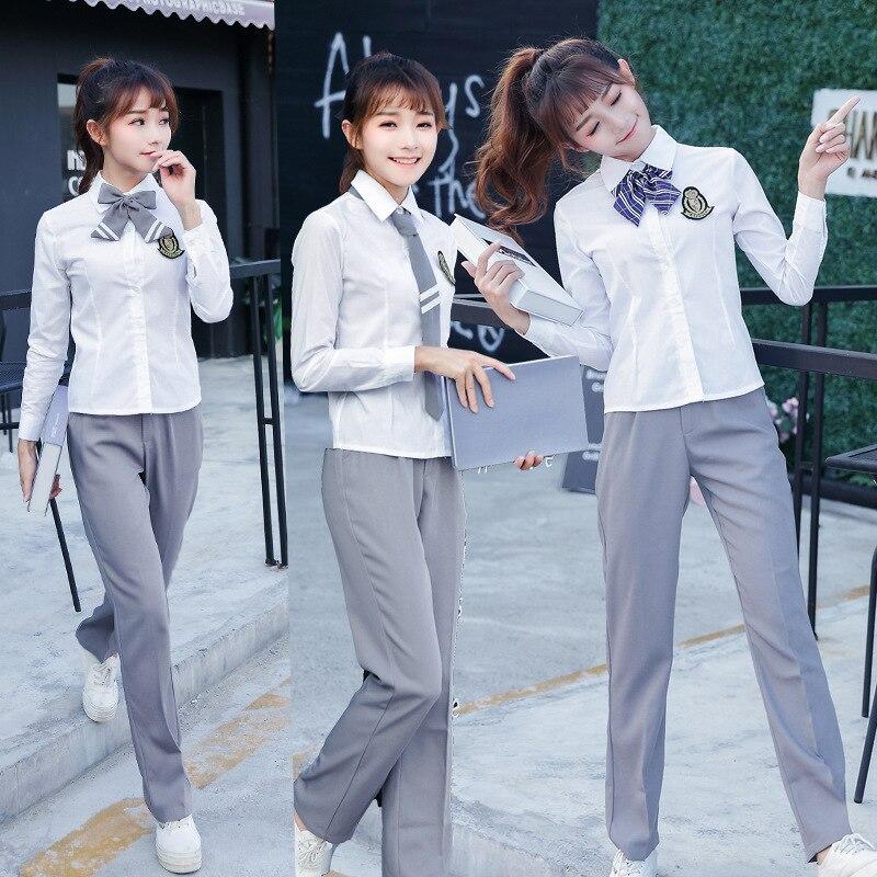 Korean-style School Uniform Business Attire England College Style Couples JK Uniform Sailor Suit Shirt Set
