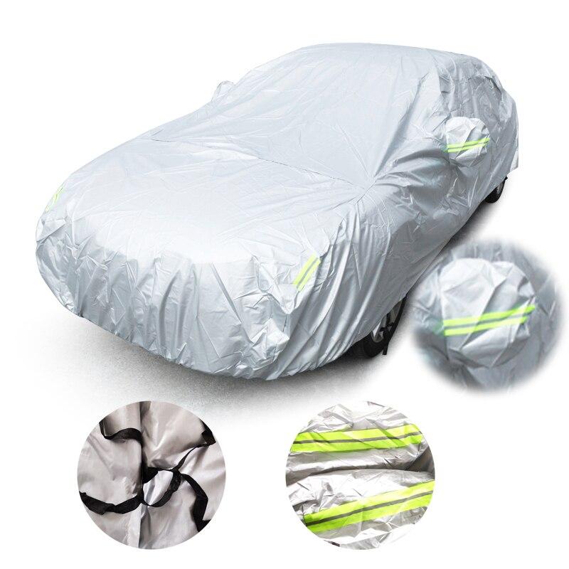 أغطية سيارات عالمية مقاس S/M/L/XL/XXL غطاء حماية مضاد للأتربة مضاد للأشعة فوق البنفسجية للشمس للأماكن المفتوحة للسيارة السيدان