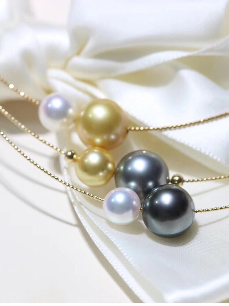 Fine Jewelry 18K Yellow Gold Natural Ocean Tahiti Black Pearl 8-11mm Pendant Necklaces For Women FIne Pearls Pendants