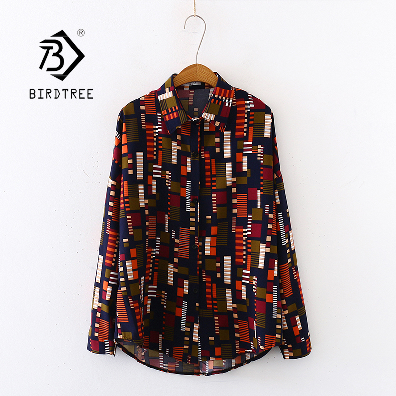 2020 Summer New Women Mosaics Print Chiffon Blouse Autumn Long Sleeve Black Shirt Vintage Oversize Tops Vintage Blusa T03201F