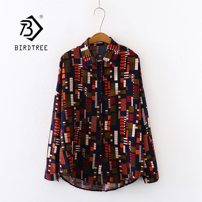 2020 Summer New Women Mosaics Print Chiffon Blouse Autumn Long Sleeve Black Shirt Vintage Oversize Tops Vintage Blusa T03201F