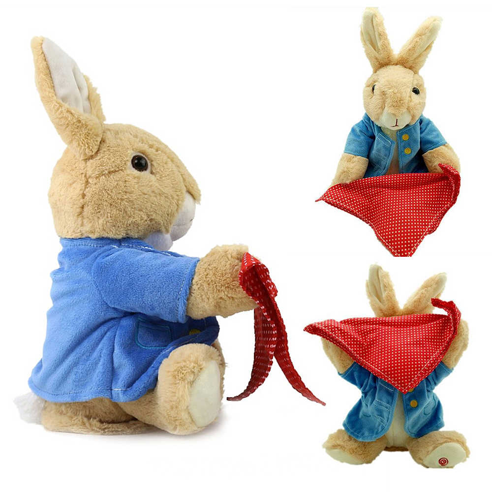 Toys Peter Rabbit Play Hide Seek Lovely Cartoon Peek A Boo Stuffed Kids Birthday Gift Cute Electric Music Rabbit Plush Toy 30cm