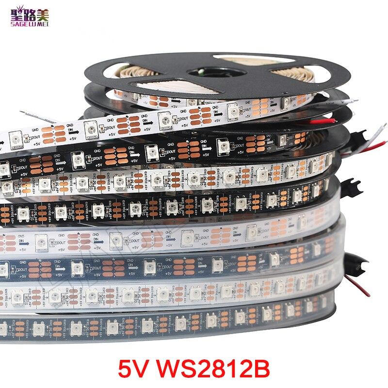 1 м/4 м/5 м WS2812B черный/белый 30/60/144 светодиодов/м WS2812IC 30/60/144 светодиодов Пиксельная адресная DC5V Dream Color Smart led strip light