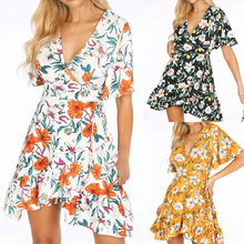 Women Floral Printed Summer Dress Batwing Sleeve V-Neck Mini Beach For Ladies Falbala Edge