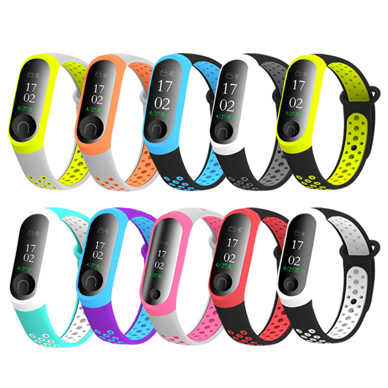 10 Colors Wrist Strap For Xiaomi Mi Band 4 3 Smart Watch Double Color TPU Bracelet Replacement For Miband 3 4 Strap Accessories
