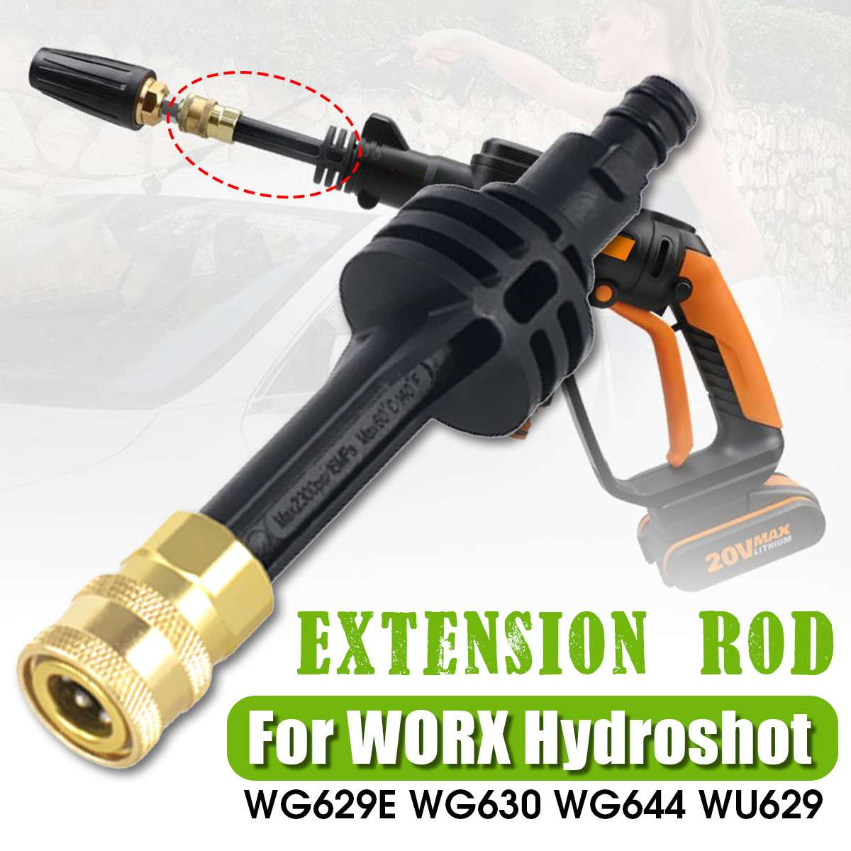 Extension Rod Adapter For WORX Hydroshot WG629E WG630 WG644 WU629 Cleaning Tools