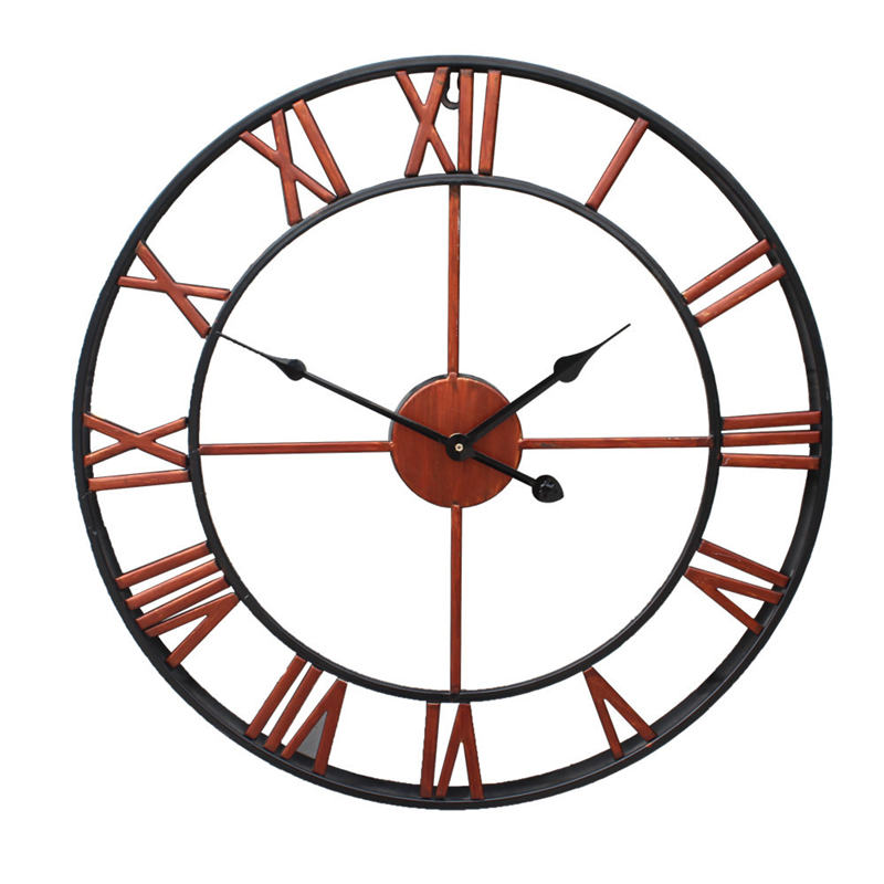New 3D Circular Wall Clock 47 Cm Retro Roman Wrought Hollow Iron Clock Battery Powered As Home Wall Living Room Decoration